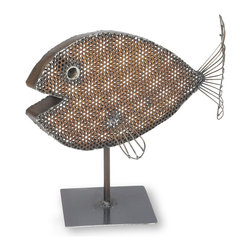 Sun Fish Sculpture - We created this lovely sea creature from reclaimed metal. The metal we used is from weathered steel. We hand draw the pattern on the metal with soapstone and cut it with a hand held plasma cutter. We then hand hammer and weld it into shape.