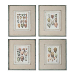 Uttermost - Study Of Eggs Framed Art, Set of 4 - These oil reproductions feature a hand applied brushstroke finish and are accented by gray, oatmeal linen mats.