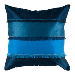 Rizzy Rugs - Rizzy Home Peacock Blue 18 Inch x 18 Inch Pillow Cover with Hidden Zipper - - Pillow Cover with Hidden Zipper  - Poly Slub Fabric  - Piecing, Fringe and Embroidered Details  - Primary Color - Peacock Blue  - Secondary Color - Aqua  -  Hand Wash in Cold Water. Lay Flat to Dry. Rizzy Rugs - T04045