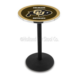 Holland Bar Stool - Holland Bar Stool L214 - Black Wrinkle Colorado Pub Table - L214 - Black Wrinkle Colorado Pub Table belongs to College Collection by Holland Bar Stool Made for the ultimate sports fan, impress your buddies with this knockout from Holland Bar Stool. This L214 Colorado table with round base provides a commercial quality piece to for your Man Cave. You can't find a higher quality logo table on the market. The plating grade steel used to build the frame ensures it will withstand the abuse of the rowdiest of friends for years to come. The structure is powder-coated black wrinkle to ensure a rich, sleek, long lasting finish. If you're finishing your bar or game room, do it right with a table from Holland Bar Stool. Pub Table (1)