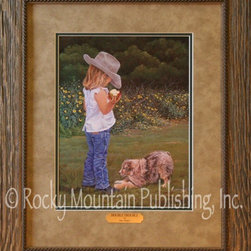 Rocky Mountain Publishing - Double Trouble June Dudley Country Western Art Print - A  new  puppy  and  a  4-year-old  dressed  in  bluejeans  just  may  mean  Double  Trouble.  This  sweet  depiction  of  a  small  blonde  girl  who  has  just  taken  several  bites  out  of  a  juicy  apple  leads  one  to  wonder  exactly  what  her  little  dog  might  be  begging  for.  This  beautiful  artwork  combines  elements  of  outdoor  art  with  the  whimsy  of  childhood.  Paintings  of  dogs  and  children  can  be  great  gifts  or  additions  to  your  own  home  decor.  Remember  your  own  summers  as  little  girl  who  ate  a  late-summer  apple  while  the  sunflowers  were  still  golden.  As  a  western  painting  this  one  is  a  joy  to  display.                  Artist:  June  Dudley              Print  Size:  16x20  inches;  Finished  frame  approximately  22x26  inches              Includes  glass,  brass  title  plate,  3-inch  double  mat,  and  hanging  hardware              Made  in  USA;  Faux  Barn  Wood  Frame              Allow  2  weeks  for  shipping