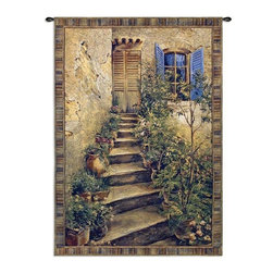 Home Decorators Collection - Tuscan Villa II Tapestry - Let your imagination take you into this warm Tuscan home. The stairs lined with plants give this home accent lovely appeal. The Tuscan Villa II Tapestry is woven with rich warm tones and textured weaves to accentuate the stucco and potted plants. Place an order now to add it to your home decor.Jacquard woven of 100% cotton.Woven with the latest computer-based loom, giving the highest image resolution available.Heirloom-quality tapestries last a lifetime.Tapestry rod and hanging hardware not included.