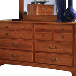 Standard Furniture - Standard Furniture City Park 6-Drawer Dresser in Cherry - City Park is a preservation of distinct craftsman looks. Extra deep storage space, including a sweater drawer in chest and dresser. Dresser drawers are double bluff cut to enhance design. The case pieces incorporate two different hardware designs to add visual interest. Multiple slats in bed and arched top rail above mirror showcase the craftsmanship of this appealing collection. Crowns on bed and mirror are enhanced with an ornamental metal rosette. The metal pulls are enhanced by an antique pewter color finish and brass color highlights. Cherry color and star pattern finish present a charming and captivating presence. Quality wood products bonded together creates durable construction throughout.