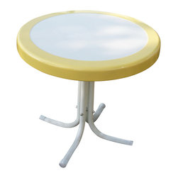 4D Concepts - 4D Concepts Metal Retro Round Table in Yellow & White Metal - What a beautifully crafted retro table.  This end table is perfect for any room of the house.  This unit can be moved wherever you need an additional table.   The metal table top is trimmed in a vibrant shade of vintage yellow.  The rich powder coated white and yellow trim give it a distinct look.  The beautifully tapered legs flair out at the bottom to give the table a unique and durable look.  Constructed of metal .  Clean with a dry non abrasive cloth.  Assembly required.