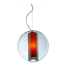 Pablo Bel Occhio Pendant - Pablo Pardo's globe lamp adds a central cylinder that provides overhead light.