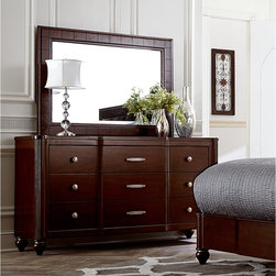 Hillsdale Furniture - Hillsdale Roma 9 Drawer Dresser with Optional Mirror - HL4238 - Shop for Dressers from Hayneedle.com! Inspired by early mid-century designs with a glamorous twist the Hillsdale Roma Dresser with Optional Mirror is an essential piece of your well-appointed boudoir. Fluted columns a center bump-out design and tapered ball feet create an elegant profile. Quality features on this six-drawer dresser include double ball bearing drawer glides that open and close smoothly. Snag-free drawer interiors have been sealed for a smooth feel and tidy look. This dresser is crafted to be an heirloom piece from quality wood veneers. The understated sparkle of nickel-finished hardware plays beautifully against its stately espresso cherry finish. Add the optional matching mirror to make this dresser complete. It attaches securely at the back add reflects classic Hollywood glamour.About Hillsdale FurnitureLocated in Louisville Ky. Hillsdale Furniture is a leader in top-quality affordable bedroom furniture. Since 1994 Hillsdale has combined the talents of nationally recognized designers and globally accredited factories to bring you furniture styling and design from around the globe. Hillsdale combines the best in finishes materials and designs to bring both beauty and value with every piece. The combination of top-quality metal wood stone and leather has given Hillsdale the reputation for leading-edge styling and concepts.