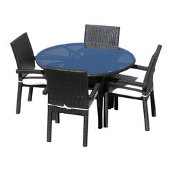 MangoHome - Outdoor Wicker 5 Piece Round Dining Set - This amazing outdoor dining set comes with 5 different pieces. It is very functional and can be arranged many different ways to meet your needs! Look at our pictures to view all of the possibilities! Each wicker set is hand crafted by trained professionals with premium quality materials assuring your set will last many years!