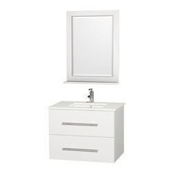 Wyndham Collection - Centra Bathroom Vanity in White, White Stone Top, Sq Porcelain UM Sink - Simplicity and elegance combine in the perfect lines of the Centra vanity by the Wyndham Collection. If cutting-edge contemporary design is your style then the Centra vanity is for you - modern, chic and built to last a lifetime. Available with green glass, pure white man-made stone, ivory marble or white carrera marble counters, and featuring soft close door hinges and drawer glides, you'll never hear a noisy door again! The Centra comes with porcelain sinks and matching mirrors. Meticulously finished with brushed chrome hardware, the attention to detail on this beautiful vanity is second to none.