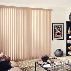 Vertical Blinds - Vertical Blinds are versatile and can be made to suit any space. They are commonly used in large windows or for sliding glass doors.