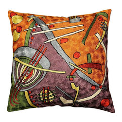 """Modern Silk - Kandinsky Cushion Cover Escape Hand Embroidered 18"""" x 18"""" - Abstracted from Joan Miro's portfolio 'Constellations,' this art silk embroidery piece has elements of his 'Awakening in the Early Morning.' These accomplished Kashmiri handcrafters produce the finest quality chain-stitch embroidery in the world. This article was designed and handcrafted in a cottage industry which spans the whole village from the hand-dyed thread to the finished product. Cover an existing throw pillow or put it over a new pillow form to create a focal point in your décor.Pillow Insert is not Included and can be bought from any fabric store locally. This pillow cover takes 18"""", 19"""" and 20"""" square pillow inserts."""