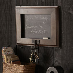 Framed Chalkboard With Hook - This framed chalkboard and hook combo can be added in multiples to keep up with personal belongings and reminders.