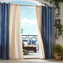 Commonwealth Home Fashions Inc - Gazebo Outdoor Curtain - Transform your outdoor space to one with an indoor feel with the blue sky as a ceiling. These fade and mildew-resistant, water-repellent curtains will blow in the breeze and add mature elegance to your outdoor experience.