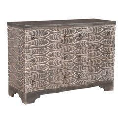 """Guildmaster - Waterfront Harmony Chest (Gray) by Guildmaster - In celebration of the tropics, identical fish are carved into the solid wood chest. Finished in an driftwood-like gray stain with a white wash accenting the grooves. The six drawers each have a single silver ring pull. For a boy's room or coastal bedroom, look no further. (GM) 48"""" wide x 34"""" high x 18"""" deep"""
