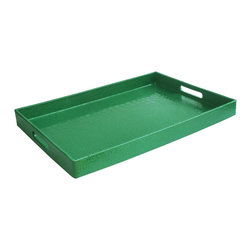 Jay Import Co. - Rectangular Tray, Green - Add some brightness to your serveware with this fun tray, covered in a snakeskin-esque plastic, making it easy to clean. Sleek and modern, you'll look great carrying this tray out to the patio or for breakfast in bed.