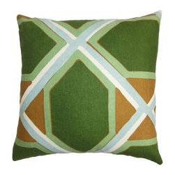 """The Pillow Collection - Quigley Geometric Pillow Green Orange 18"""" x 18"""" - Change the look of your interiors with this sleek and crisp accent piece. This square pillow is covered with a geometric pattern in refreshing hues of green. blue, white and orange. Prop up this 18"""" pillow in your living room or bedroom on its own or pair it with a matching pattern. This comfy decor pillow is made from a blend of materials: 55% linen and 45% cotton. Hidden zipper closure for easy cover removal.  Knife edge finish on all four sides.  Reversible pillow with the same fabric on the back side.  Spot cleaning suggested."""