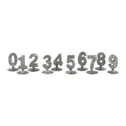 Kathy Kuo Home - Set of 2 Industrial Loft Metal Numbers on Stands Set - Full of industrial character and possibilities, these numbers can be used for almost anything!