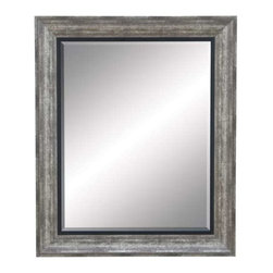 """Benzara - Beveled Mirror with Dull Grey Finish Frame - Beveled Mirror with Dull Grey Finish Frame. Designed exclusively to glorify your decor, this polystone beveled mirror has a solid resin construction with a superb quality glass to enhance the lighting and dimension of your interiors. It comes with a following dimensions 29""""W x 2""""D x 35""""H."""