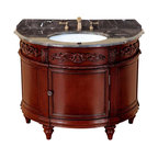 Bosconi - 42 in. Classic Single Vanity in Antique Red Finish - Includes sink overflow drain. Faucet and drain not included. Vanity with one door. 0.7 in. thick dark emperador marble countertop. White and under-mount ceramic basin sink. Three 8 in. standard faucet holes. Antique brass hardware. Made from birch solid wood frame, CARB PH2 certified MDF sides and panelling. Matching backsplash: 0.7 in. W x 3.1 in. H. Sink: 20 in. W x 15 in. D x 7.7 in. H. Overall: 42 in. W x 20 in. D x 33 in. H (187 lbs.)This particular Bosconi piece offers a unique look with its oval design. Adding to its Classic bold look is the intricate detail and quality. This Bosconi Classic vanity will become a centerpiece in any location.
