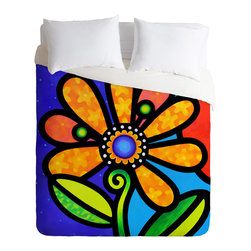DENY Designs - Steven Scott Cosmic Daisy In Yellow Duvet Cover - Turn your basic, boring down comforter into the super stylish focal point of your bedroom. Our Luxe Duvet is made from a heavy-weight luxurious woven polyester with a 50% cotton/50% polyester cream bottom. It also includes a hidden zipper with interior corner ties to secure your comforter. it's comfy, fade-resistant, and custom printed for each and every customer.