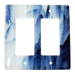"""Aquila Art Glass - Double Wall Plate Decoration, Metallic Blue Clear Swirl, 5x5 - To make a Wall Plates, two pieces of glass are cut, cleaned, stacked together and placed into a kiln. The kiln goes up to 1450 degrees Fahrenheit, and then the glass becomes molten and fuses together to make one piece of glass. The glass goes into a waterjet and the plate is cut out. Then, when the glass is placed onto a mold and taken to 1300 degrees Fahrenheit, the glass becomes elastic and gravity pulls the glass over the mold. We call this process slumping. The glass spends about 48 hours in the kilns. Expect slight variations in color & size. Aquila Art Glass is proud to say """"Our Glass Products are handcrafted in Portland Oregon using high quality handmade materials made in the USA."""""""