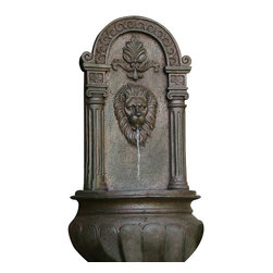 Sunnydaze Decor - Leo Outdoor Wall Fountain, Iron - The look of iron, the feel of porcelain and the modern ingenuity of resin make this wall fountain a beautiful focal point for your favorite outdoor space. Incredible detail lends an old-world effect and the burbling spout offers a continuous stream of tranquility.