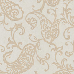 Kenneth James - Luna Fish Paisley Wallpaper - Your walls will positively shimmer with sophistication when you employ this platinum paisley pattern as their design. A roll of this stunningly elegant non-woven wallpaper will give you 56 square feet of coverage.