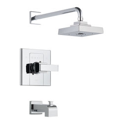 Delta Monitor(R) 14 Series Tub and Shower Trim - T14486 - Inspired by geometric designs found in mid-century modern furniture, Arzo makes a bold statement in understated fashion.
