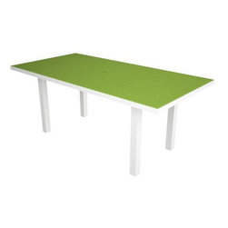 Home Decorators Collection - PolyWood® Rectangle Dining Table - The PolyWood® Rectangle Dining Table features bold, fade-resistant color and the durability of high-density polyethylene, an exceptionally sturdy recycled plastic with infinite recycle-ability. Perfect for dining events or casual get-togethers, these HDPE patio tables have exceptional resistance to corrosive substances such as oil, fuels, insects, fungi, salt spray and other environmental stresses. Order yours now and enjoy year after year of bright, colorful style that will look just as gorgeous as the day you bought it. Requires no water proofing, painting, staining, or similar maintenance. Does not absorb moisture and therefore will not rot, splinter, or crack. Over 90% of its HDPE construction is made from post-consumer bottle waste. Complement your purchase with the entire PolyWood® Collection of recycled plastic patio furniture. Multiple color options available.
