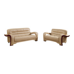 Global Furniture - Global Furniture USA 992-RV 2-Piece Bonded Leather Living Room Set in Cappuccino - Modeled to cater to both the desires of the contemporary or transitional home for design and comfort this loveseat upholstered in bonded cappuccino leather and leather match will be a great choice for your living room. It features plush seating, and the curved details add the perfect finish touch.