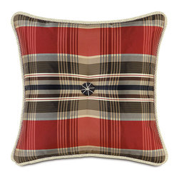 Frontgate - Scalamandre Tartan Tufted Decorative Pillow - Each includes a high-quality down fill pillow insert. 100% polyester construction. All feature zippered closures. Because these are specially made to order, please allow 4-6 weeks for delivery. Dry clean only. Bring vibrancy and deep hues to a couch, chair, or bed with exotic Scalamandre Decorative Pillows. Iconic images of zebras and arrows and matching patterns coalesce with rich, solid colors and contemporary designs. Dress up a family room or bedroom with these bold, functional accessories.. . . . . Made in USA.