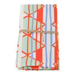 Wolfum - Olga Napkin - Spice up your table with this set of two organic cotton & recycled poly twill napkins. Hand printed design in blue, white, red, mint and yellow. Machine washable.