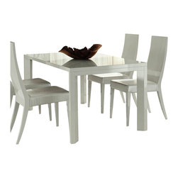 Rossetto - Rossetto Nightfly 5 Piece Rectangular Dining Table Set in White - Rossetto - Dining Sets - R4132055430685PcDiningSetPKG
