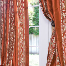 Istanbul Cayenne Silk Curtain - We've taken our top selling Solid Thai Silk and designed our own embroidery designs to coordinate. The combination of solid silk, thread color & embroidery design has been handpicked by our team of designers. Each panel is made to order and great attention is paid to each.