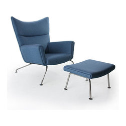 Fine Mod Imports - Wing Chair and Ottoman in Blue Wool - Features: