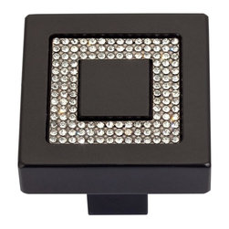 Atlas - Crystal Pave Square Knob - 3192-BL (Matte Bla - Color: Matte BlackManufacturer SKU: 3192-BL. Projection: 1.18 in.. Made from brushed aluminum with genuine European crystal. 1.4 in. L x 1.4 in. W
