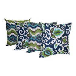 Land of Pillows - Chino Oxford and Faxon Oxford Navy Outdoor Decorative Throw Pillow - Set of 4, 2 - Fabric Designer - Premier Prints