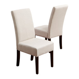 Great Deal Furniture - Emilia Fabric Dining Chair (Set of 2), Ivory - Our Emilia Natural Fabric Dining Chairs are the perfect upgrade to your dining room. Built of hardwood, these comfortable chairs are well padded and covered in soft fabric. The natural colored fabric is perfect for complimenting your dining room's existing decor.