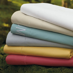 """Grandin Road - Supima Pillow Sham - Supima cotton sheet sets, pillowcases, duvets, and shams. Sheet sets include flat, fitted, and two pillowcases (twin includes one). Woven from 100% supima cotton. 500 thread count weave. Fitted sheet features a 15""""-deep pocket. Pamper yourself with the exquisite softness and indulgent comfort of our signature Supima 500 Thread Count Bedding. Woven from the finest-quality American cotton, featuring ultra fine fibers that create an incredibly luxurious sleeping experience. Simple, tonal, track-line embroidery in your choice of color.  .  .  .  .  . Machine washable; see details on care label . Monogramming available . Made in USA and imported."""
