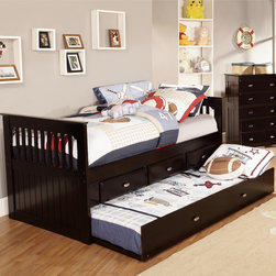 None - Twin Rake Bed with 3 Drawers - This twin size rake bed in a luscious merlot finish provides plenty of storage and sleeping area while taking up very little space. The bed includes three drawers for storage and a trundle unit for an additional sleeping area.