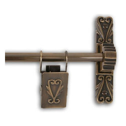None - Antique Brass 36-inch Victorian Scroll Tapestry Hanger - Add a sense of elegance to your home with this Victorian scroll tapestry hanger. This sturdy brass tapestry hanging rod comes with stylized brackets, center supports, and decorative tapestry clips.