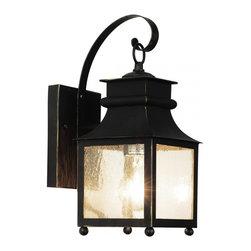 Joshua Marshal - One Light Weathered Bronze Amber Seeded Glass Wall Lantern - One Light Weathered Bronze Amber Seeded Glass Wall Lantern