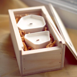 Faceted Votives 2-Candle Gift Set by Pigeon Toe - Candles are one of my vices, especially during the winter months when there is less light during the day. The way candlelight brightens up a room can't be replicated, in my opinion. I'm a fan of that cozy, warm glow, how about you?