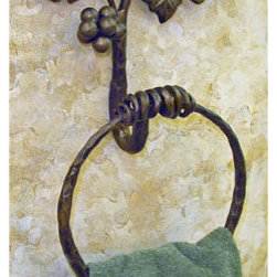 Vineyard Iron Towel Ring - Bring natures beauty into your bathroom with this durable iron towel ring with artistic vineyard details.