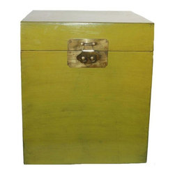 Used Moss Green Lacquered Storage Box - Store it away in style with this moss green lacquered storage box. Great for organizing, this piece is made of solid wood and has a hand rubbed antique finish.