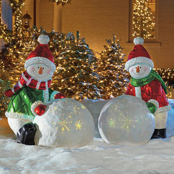 """Frontgate - Fiber Optic White Day Whiteman - Outdoor Christmas Decorations - In Green or Red. Fiberoptic lights on the snowball and trim of hat operate on one halogen bulb, included. Made of durable resin for outdoor use. 70"""" cord. Wearing a Santa hat, quilted coat and a warm smile, our exclusive 4-foot-tall Snow Day Snowman will make fast friends in your neighborhood. Six LED lights accent his scarf while fiberoptic lights hint at a twinkle of magic.. . . ."""