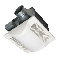 Panasonic - 80-CFM Exhaust Fan with Light - FV-08VKL3 - This bathroom exhaust fan produces only.3 sones of noise while achieving 80 cubic feet per minute of air flow. It is rated and the bulb has an average rated life of 10,000 hours. The housing is 10-7/8 inches square and 10-1/4 inches tall, while the grill is 13 inches square by 2-7/8 inches tall. Fits a 4-inch duct. Double hangar bars included for easy installation. Title 24 compliant. UL listed for tub/shower enclosure when used with GFCI branch circuit wire. Takes (2) 18-watt compact fluorescent quad tube bulb(s). Bulb(s) sold separately. Wet location rated.
