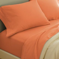 Garnet Hill - Garnet Hill Paintbrush Cotton Flannel Sheets - California King - Fitted - Flower - This cotton flannel bedding is featured in modern colors designed to mix and match. This flannel bedding is made in Portugal of pure cotton that's brushed on both sides for softness. Fitted sheet is fully elasticized for a better fit. Pocket depth 12 inches.