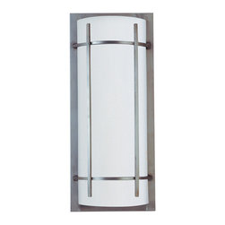 Maxim Lighting - Luna Outdoor Wall Lantern - Luna Outdoor Wall Lantern features an acrylic shade in a brushed metal aluminum finish. Available in 1-light or 2-light version (image shown in 2-light version). Supplied with (1) or (2) 13 watt, 120 volt, GU24 compact fluorescent bulbs. Luna is available in various wall mount versions and in a pendant version. 1-light: 9W x 12H x 4D. 2-light: 9W x 21H x 4D. Wet location rated. UL listed. ADA compliant.