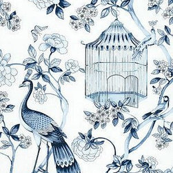 Oiseaux et Fleurs Wallpaper, Porcelain - Oiseaux et Fleurs wallpaper is a favorite of mine for a powder room.