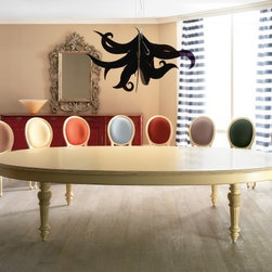 Home & Glamour PG.04.032A Dining Table - PG.04.032A Italian designer oval dining table with fixed top, handmade in Cherrywood in cream. This traditional furniture collection combines a unique French and Italian design. Available in Cherrywood stain or more than 31 painted lacquered colors. Made in Italy.
